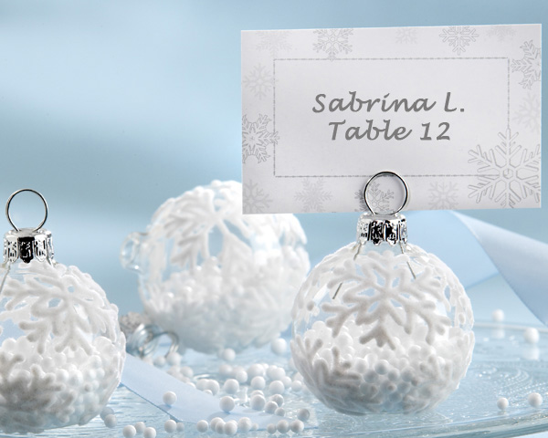 Snow flurry holiday ornament place card and photo holder